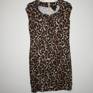 Iman Global Chic Leopard Print Sleeve Shift Dress